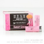 250 Rounds of 12ga Pink Hull Ammo by Federal - 1 1/8 ounce #8 shot