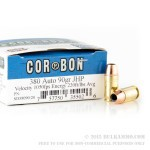 20 Rounds of .380 ACP Ammo by Corbon - 90gr JHP