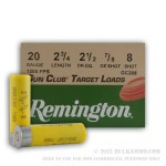 25 Rounds of 20ga Ammo by Remington Gun Club - 7/8 ounce #8 shot