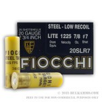 250 Rounds of 20ga Low Recoil Ammo by Fiocchi - 7/8 ounce #7 Shot (Steel)