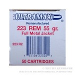 50 Rounds of Remanufactured .223 Ammo by Ultramax - 55gr FMJ