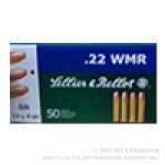 50 Rounds of .22 WMR Ammo by Sellier & Bellot - 45 gr LRN