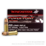 50 Rounds of .22 LR Ammo by Winchester Power Point - 42 gr CPHP