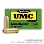 50 Rounds of .38 Spl Ammo by Remington UMC - Leadless - 125gr FNEB