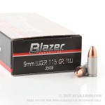 1000 Rounds of 9mm Ammo by CCI - 115gr FMJ