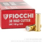 50 Rounds of .38 Spl Ammo by Fiocchi - 148gr Lead Wadcutter