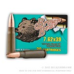 500  Rounds of 7.62x39mm Ammo by Brown Bear - 123gr HP