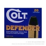 20 Rounds of .380 ACP Ammo by Colt Defender - 80gr SCHP
