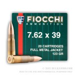 20 Rounds of 7.62x39mm Ammo by Fiocchi - 123gr FMJ