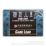 250 Rounds of 20ga Ammo by Federal Game Shok - 7/8 ounce #8 shot