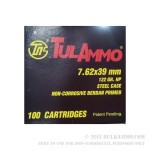100 Rounds of 7.62x39mm Ammo by Tula - 122gr HP