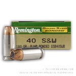 500  Rounds of .40 S&W Ammo by Remington Golden Saber Bonded - 180gr JHP