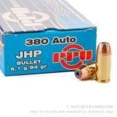 1000 Rounds of .380 ACP Ammo by Prvi Partizan - 94gr JHP