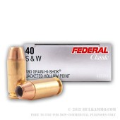 1000 Rounds of .40 S&W Hi Shok Ammo by Federal Classic - 180gr JHP