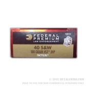50 Rounds of .40 S&W Ammo by Federal - 180gr JHP